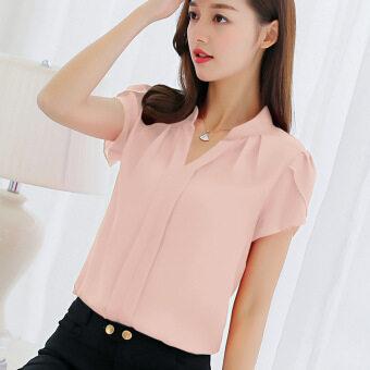เสื้อแขนสั้นสตรีผ้าชีฟองสไตล์เกาหลีแบบหลวมสบายคอวีทรงสั้น (สีชมพู)