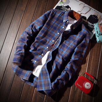 ยี่ห้อไทด์เกาหลีชายแขนยาวผู้ชายเสื้อใหม่ลายสก๊อตเสื้อเชิ้ต (แลงเกอร์)