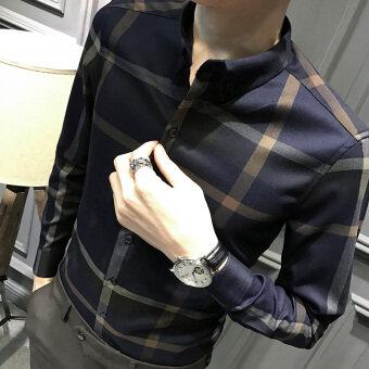 อังกฤษผู้ชายผอมเสื้อเสื้อผ้าเสื้อแขนยาวเสื้อ (น้ำเงิน)