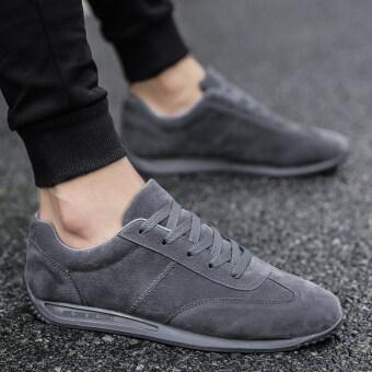 รองเท้าผ้าใบผู้ชาย แฟชั่นเกาหลี (สีเทา)