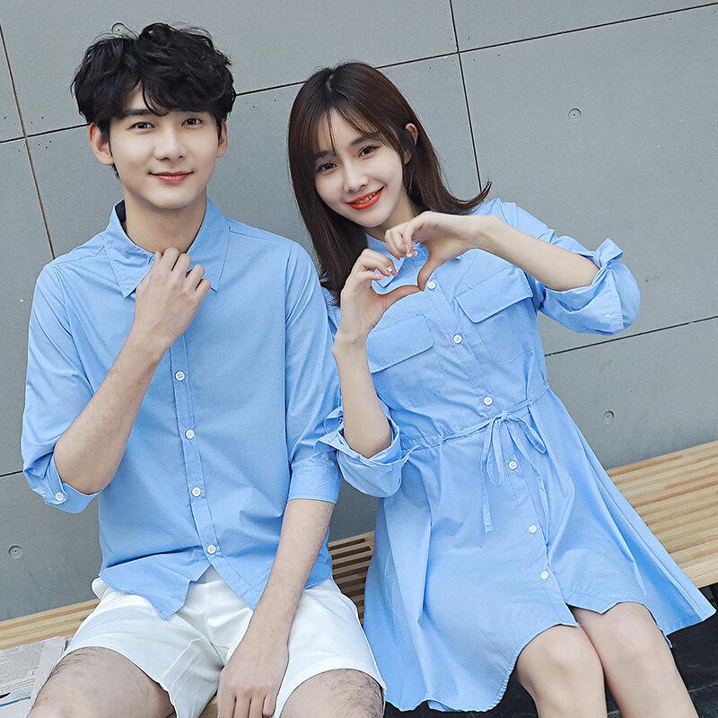 คู่หญิงส่วนยาวเสื้อกระโปรงสีทึบเสื้อเชิ้ต (แสงสีฟ้า)