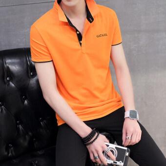 ชายลายปกธุรกิจเสื้อโปโลเสื้อยืด (สีส้มสีดำคอ)