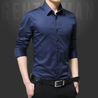 เสื้อเชิ้ตแขนยาวผู้ชายสไตล์เกาหลี (สีน้ำเงินเข้มแขนยาวเสื้อ) ...