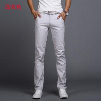 ฤดูใบไม้ร่วงใหม่ตรงธุรกิจผ้าฝ้ายกางเกงลำลองสบายๆกางเกง (สีเทาอ่อน)