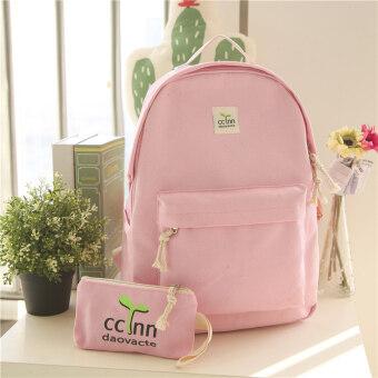 วิทยาลัยลมผ้าใบพฤษภาคมเกาหลีโรงเรียนมัธยมกระเป๋านักเรียนกระเป๋าสะพายไหล่ (ขนาดใหญ่สีชมพู)