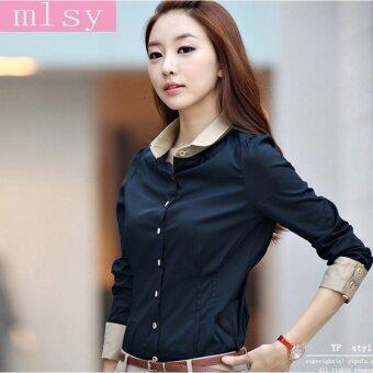 เสื้อเชิตแขนยาว สไตล์เกาหลี เหมาะกับใส่ทำงาน (สีน้ำเงินเข้ม)