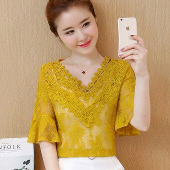 เกาหลีใหม่กลวงเสื้อลูกไม้เสื้อ (สีเหลือง (ส่งสายรัด))