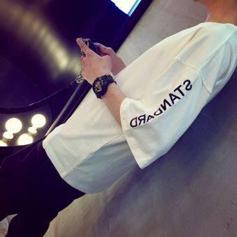 เสื้อยืดโอเวอร์ไซด์ผู้ชาย ฟรีไซด์ (ห้าตัวอักษรสีขาว (ชิ้นเดียว))