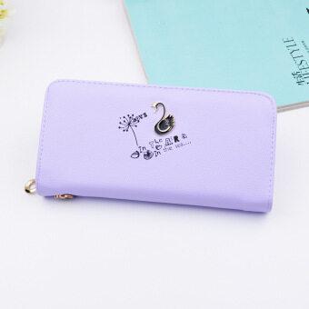 เกาหลีหญิงกระเป๋าเงินนางสาวซิปกระเป๋าคลัทช์ใหม่กระเป๋าสตางค์ (สีม่วง)