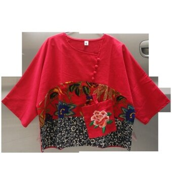 หลวมลมชาติพิมพ์ปักกระเป๋าเสื้อผ้าฝ้าย (สีแดง)