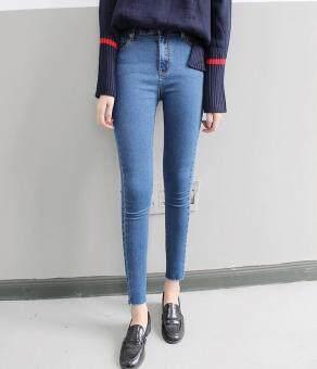 เวอร์ชั่นเกาหลีสีดำใหม่แน่นกางเกงยีนส์เอว (สีฟ้า)