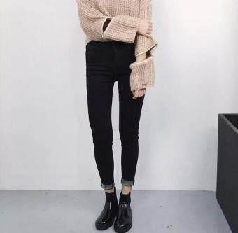 เวอร์ชั่นเกาหลีสีดำใหม่แน่นกางเกงยีนส์เอว (สีดำ)