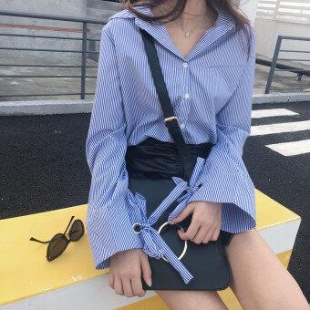 หลวมบ้านเกาหลีสีฟ้าหญิงเสื้อลำลองเสื้อเชิ้ตลายแนวตั้ง (สีฟ้าลาย) (สีฟ้าลาย)