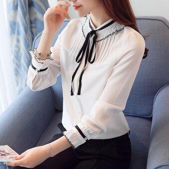 เกาหลีหญิงแขนยาวใหม่สีขาวเสื้อชีฟองเสื้อ (สีขาว)