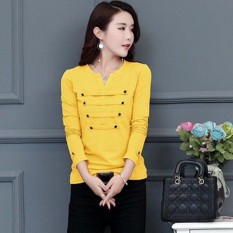เวอร์ชั่นเกาหลีบวกกำมะหยี่อบอุ่นบนเสื้อยืดเสื้อหนาไพรเมอร์ (สีเหลือง)