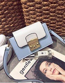 สี่เหลี่ยมเล็กๆแนวโน้มใหม่ถุงห่วงโซ่กระเป๋าถือกระเป๋าใบเล็ก (ทะเลสาบสีฟ้า)