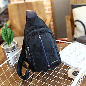 กีฬากลางแจ้งพิมพ์ท่องเที่ยวชายกระเป๋าใหม่กระเป๋าหน้าอก (แถบแนวตั้งสีดำ) (แถบแนวตั้งสีดำ)