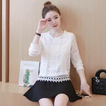 เวอร์ชั่นเกาหลีของสลิมเป็นบางฤดูใบไม้ผลิและฤดูใบไม้ร่วงแขนยาวเสื้อลูกไม้เสื้อ (สีรูปภาพ)