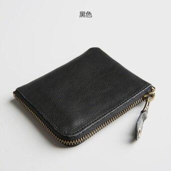 ย้อนยุคหนังบางเฉียบหญิงหนังกระเป๋าสตางค์ผู้ชายย่อหน้าสั้นๆกระเป๋าสตางค์ (สีดำ)