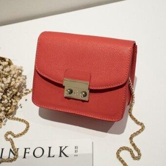 สี่เหลี่ยมเล็กหญิงถุงล็อคหญิงกระเป๋าสะพายขนาดเล็กแพ็คเก็ต (สีส้มรุ่นอัพเกรด)