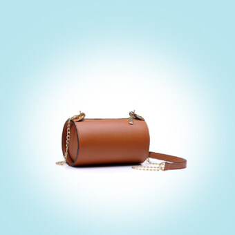 เกาหลีใหม่สามมิติกระเป๋าทรงกระบอกถุงเล็ก (สีน้ำตาลอ่อน)