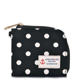 สี่เหลี่ยมเล็กนักเรียนหญิงน่ารักมินิกระเป๋าเงินกระเป๋าสตางค์ (จุดคลื่นย้อนยุค)
