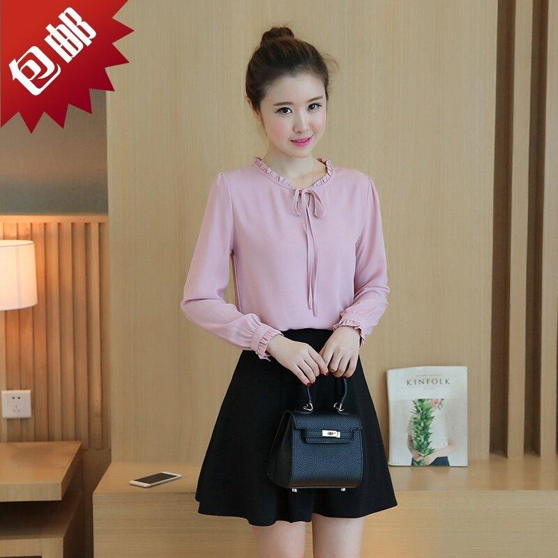เสื้อชีฟองคอใบบัว สไตล์ผู้หญิงเกาหลี (ไวน์แดง)