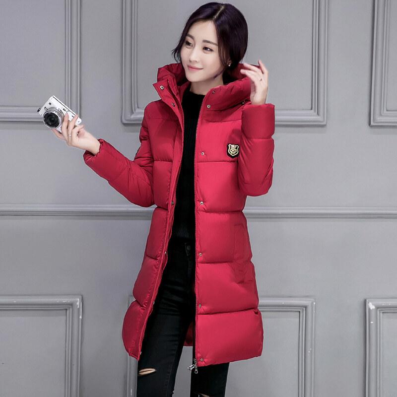 เกาหลีสีทึบหญิงฤดูหนาวคลุมด้วยผ้าแจ็คเก็ตเบาะลง (สีแดง)
