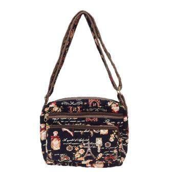 จัดโปรโมชั่น กระเป๋าสะพายพาดลำตัว สะพายข้าง ผ้าแคนวาสสีน้ำเงิน