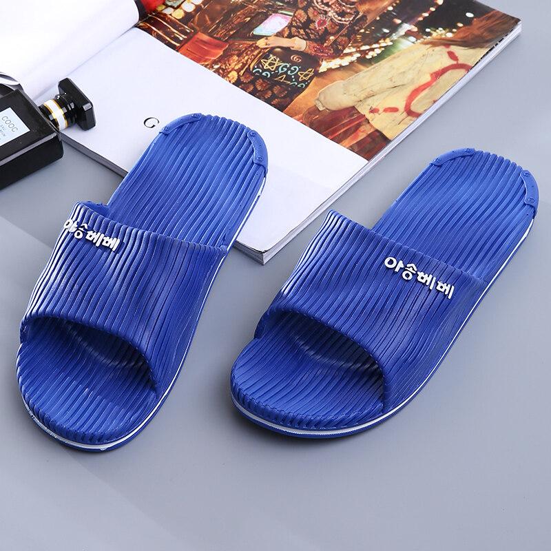 บ้านด้านล่างนุ่มรองเท้าแตะบ้านห้องน้ำรองเท้าแตะและรองเท้าแตะ (สีน้ำเงินเข้ม)