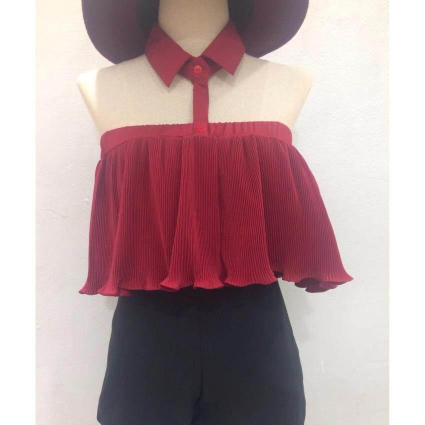 เสื้อปาดใหล่อัดพลีท(สีแดง)