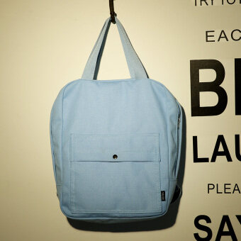 เกาหลีผ้าใบสีทึบใหม่กระเป๋าเป้สะพายหลังกระเป๋าสะพายไหล่ (แสงสีฟ้า)