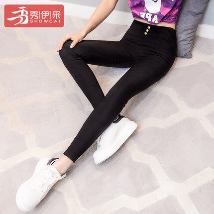 สีดำแน่นดินสอฟุตกางเกงขายาวบวกกำมะหยี่หุ้มขา (สีดำ (ไม่กำมะหยี่))