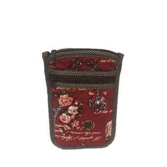 กระเป๋าใส่เหรียญ ใส่โทรศัพท์มือถือ มีสายคล้องคอ ผ้าแคนวาสสีแดง