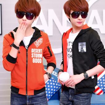 เวอร์ชั่นเกาหลีของผู้ชายมัธยมนักเรียนกีฬาแจ็คเก็ตเสื้อกันหนาว (สีส้ม)