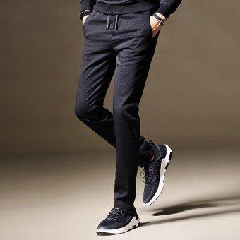 เวอร์ชั่นเกาหลีสีทึบเยาวชนถุงน่องกางเกงฤดูใบไม้ร่วงกางเกงลำลอง (สีดำ)