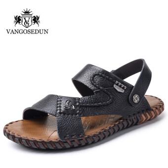 แวนโก๊ะในช่วงฤดูร้อนของผู้ชายชายรองเท้าแตะ (สีดำ)