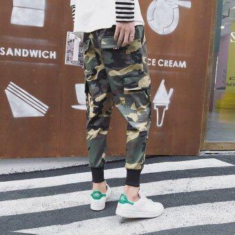 เกาหลีสลิมกางเกงลายพรางกางเกง (สีเขียวลายพราง)