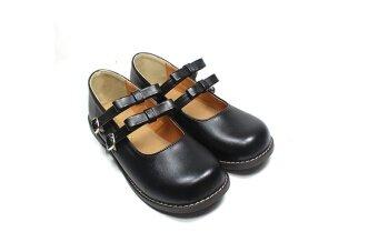 เสนหญิงนักเรียนการแสดงรองเท้าหนังขนาดเล็กรองเท้าตุ๊กตา (สีดำ)