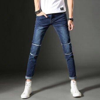 เกาหลีผู้ชายฤดูใบไม้ร่วงบางรุ่นกางเกงฟุตกางเกงยีนส์ (สีฟ้า)