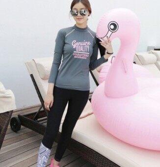 เกาหลีสลิมครีมกันแดดนางสาวแยกชุดว่ายน้ำชุดดำน้ำ (สีเทา)