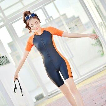 ชุดว่ายน้ำเก็บพุง บอดี้สูท แบบเข้ารูป สำหรับผู้หญิง (สีส้ม) (สีส้ม)