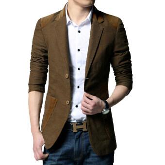 เสื้อสูทผู้ชายแบบสำสอง ขนาดใหญ่ สไตล์เกาหลี ([ลึกกาแฟ]) ([ลึกกาแฟ])
