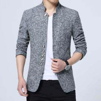 ผู้ชายเกาหลีเสื้อลำลองชุดสูท (สีเทาอ่อน)