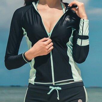 เซ็กซี่ใหม่แขนยาวนักมวยกางเกงบิกินี่ชุดว่ายน้ำ (สีดำ)
