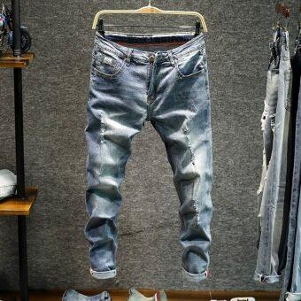 ผู้ชายเกาหลีสลิมกางเกงฟุตหลุมกางเกงยีนส์ (แสงสีฟ้า)