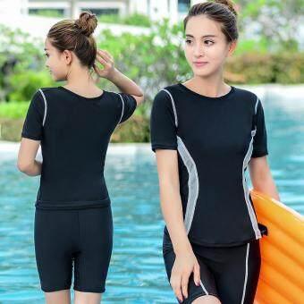 ชุดว่ายน้ำผู้หญิงใหม่ล่าสุด แขนสั้น สไตล์เกาหลี จัดส่งฟรี (สีเทา)