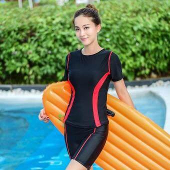 ชุดว่ายน้ำผู้หญิงใหม่ล่าสุด แขนสั้น สไตล์เกาหลี จัดส่งฟรี (สีแดง)