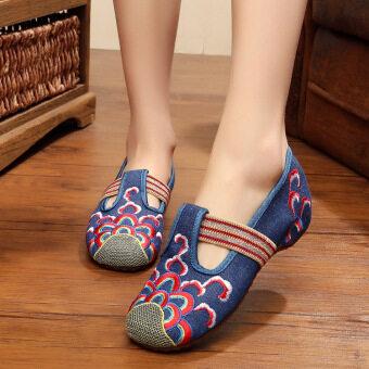 ลมเชื้อชาติจีนลมวงยืดหยุ่นหญิงรองเท้าปักรองเท้า (สีฟ้า)
