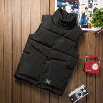 ฤดูใบไม้ร่วงและฤดูหนาวเกาหลีผู้ชายปลูกฝังหนาเสื้อกั๊กผ้าฝ้ายเสื้อกั๊ก (สีดำ)